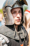 Warrior participant of VI festival of medieval culture Stock Image