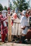 Warrior participant of VI festival of medieval Stock Photos