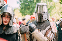 Warrior participant of VI festival of medieval Royalty Free Stock Image