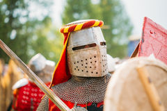 Warrior participant of VI festival of medieval Royalty Free Stock Photo