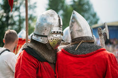 Warrior participant of VI festival of medieval Royalty Free Stock Photography