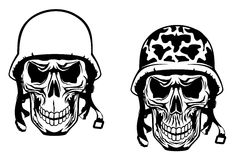 Warrior and pilot skulls. In military helmets Royalty Free Stock Photos