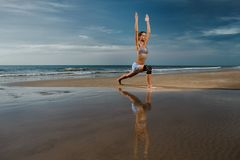 Warrior pose royalty free stock photography