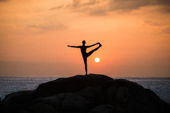 Warrior pose from yoga Royalty Free Stock Photos