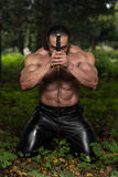 Warrior Is Praying For No Sword Fight Royalty Free Stock Photos
