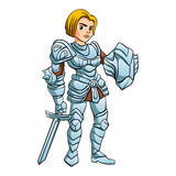 Warrior Princess With Battle sword and Shield Stock Images