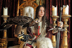Warrior Princess on the throne Stock Images