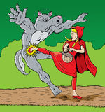 Warrior Riding Hood. Little Red Riding Hood kicking the wolf, good for self defense Royalty Free Stock Image