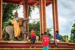 Warrior riding horse monument at Chong Arn Ma, Thai-Cambodia border crossing (called the An Ses border crossing in Cambodia) to Ub. Preah Vihear, Cambodia stock photography