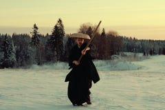 Warrior samurai in cold winter Royalty Free Stock Photos