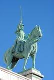 Warrior sculpture. Horse sword stone Stock Photos