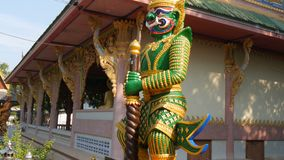 Warrior sculpture on the territory of a Buddhist temple. Thai warrior sculpture on the territory of a Buddhist temple stock footage