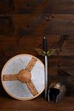 Warrior shield sword and helmet Stock Photos