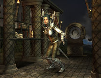 Warrior at the shrine in the Middle Ages. 3D RenderingWarrior at the shrine in the Middle Ages Stock Image