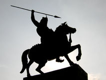 Warrior Silhouette. A beautiful silhouette of an old Indian warrior statue Stock Image