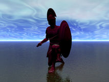 Warrior Silhouette. Ancient warrior advancing across water Royalty Free Stock Photos