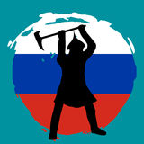 Warrior Silhouette on russia flag background. Isolated Vector illustration Stock Images