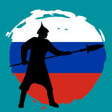 Warrior Silhouette on russia flag background. Isolated Vector illustration Stock Photo