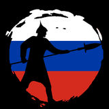 Warrior Silhouette on russia flag and black background. Isolated Vector illustration Stock Photography