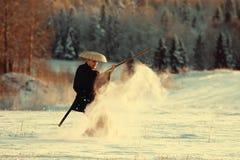 Warrior in snowy landscape Stock Image