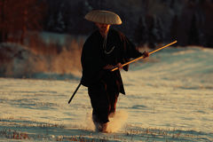 Warrior in snowy landscape Royalty Free Stock Images