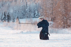Warrior in snowy landscape Royalty Free Stock Photography