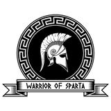 Warrior of Sparta. Spartan shield, helmet, meander stock illustration