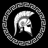 Warrior of Sparta. Spartan shield, meander, helmet on a black background vector illustration