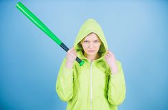 Warrior. Sport equipment. Athletic fitness. Fighting with aggression. aggressive woman warrior with bat. Street life. Sporty girl fighter. woman warrior royalty free stock image