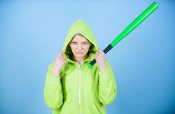 Warrior. Sport equipment. Athletic fitness. Fighting with aggression. aggressive woman warrior with bat. Street life. Sporty girl fighter. woman warrior stock images