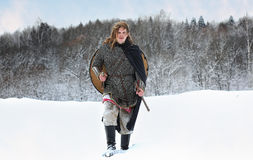 Warrior of the squad on order protection in the equipment of nor. Warrior of the squad on order protection in the equipment of the northern peoples Royalty Free Stock Photo