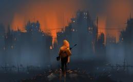 A warrior standing on many ruins against war and building burnin. G, digital illustration art painting design style stock illustration