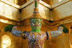 Warrior statue at temple of the emerald Buddha Royalty Free Stock Images