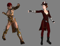 Warrior and Steampunk lady Royalty Free Stock Photo