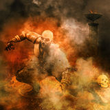 Warrior with torch and skull background. 3D illustration of a warrior with torch, ruins and skull background Royalty Free Stock Photography