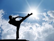 Warrior training on the breakaway Royalty Free Stock Images