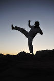 Warrior training in sunset Royalty Free Stock Photos