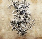 Warrior with tribals, Tattoo art, hadmade Royalty Free Stock Photography