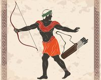 Ancient Greek warrior. Warrior with a weapon in his hands on a beige background. Archer with a bow and arrows stock illustration