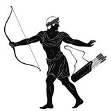 Ancient Greek warrior. Warrior with a weapon in his hands isolated on a white background. Archer with a bow and arrows stock illustration