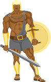 Warrior on white. Strong warrior has prepared for fight Royalty Free Stock Image