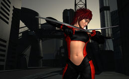 Warrior woman. 3d render of warrior woman holding swords Stock Photography