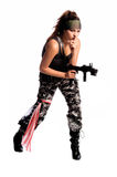 Warrior Woman. Beautiful young Latina Warrior Woman in military camo with an automatic assault weapon Stock Photos