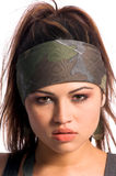 Warrior Woman. Beautiful young Latina Warrior Woman in military camo with an automatic assault weapon Stock Photography