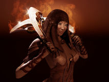 Warrior woman. 3d render of a female warrior Stock Images