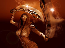 Warrior woman. 3d render of a female warrior Royalty Free Stock Photo