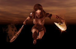 Warrior woman. 3d render of a female warrior Royalty Free Stock Photography