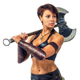 Warrior - woman with an axe Royalty Free Stock Photo