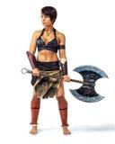 Warrior - woman with an axe Stock Photos