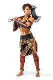 Warrior - woman with an axe Royalty Free Stock Photos